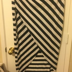Black and White Striped Tulip Skirt